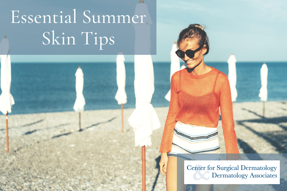 Young Woman On The Beach Following The Center For Surgical Dermatology's Essential Summer Skin Tips For Healthy, Happy Skin